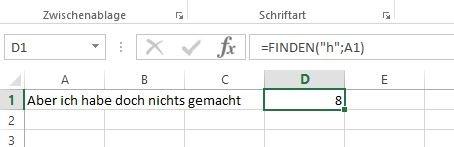 Leerzeichen werden bei FINDEN nicht mitgezählt.