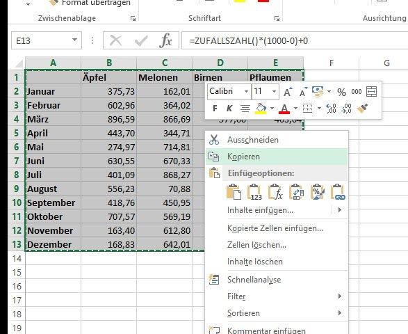 Achtet darauf, die Daten zu kopieren. Wenn ihr Ausschneiden wählt, könnt ihr die Werte im Anschluss nicht transponieren.