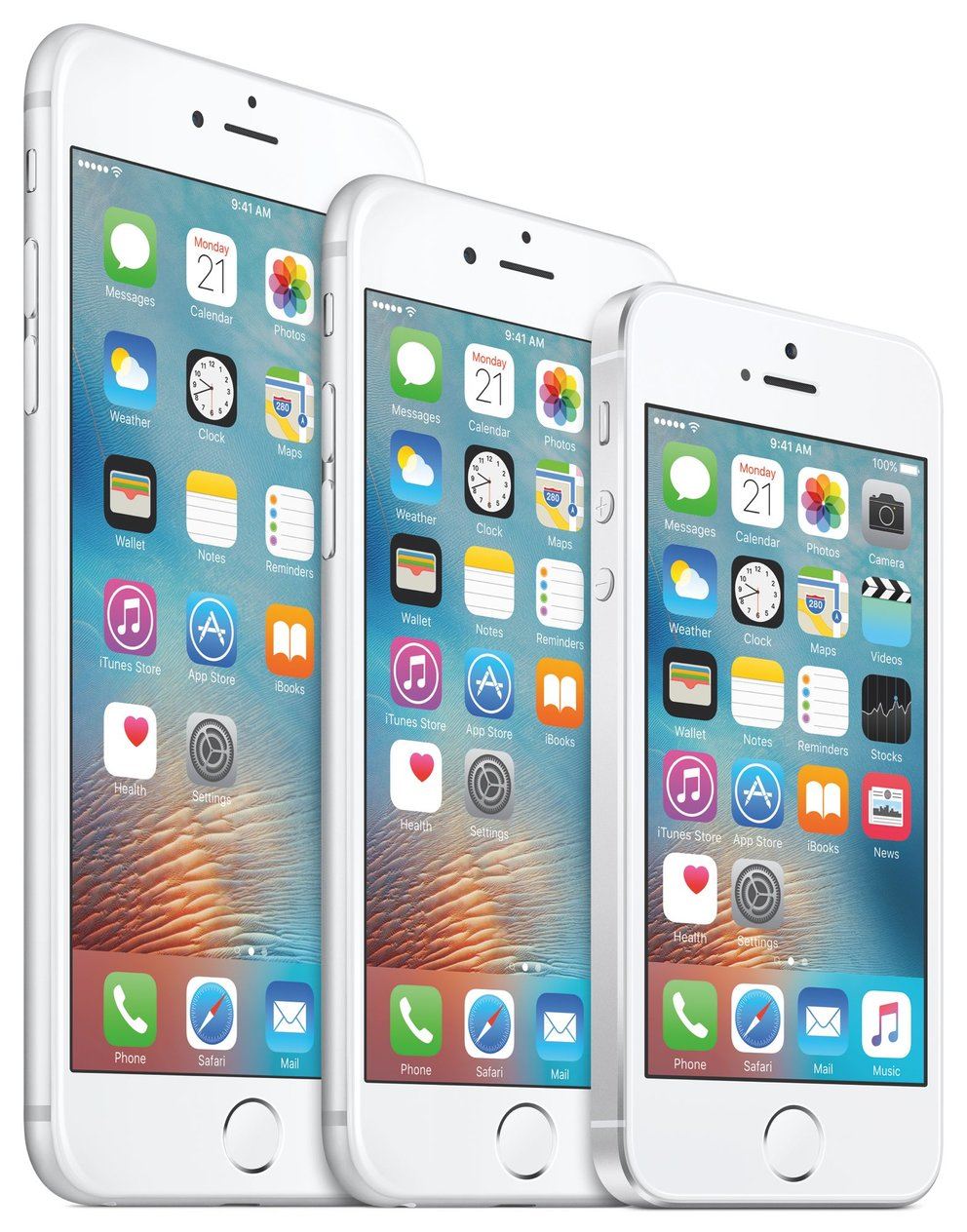 iPhone 6s Plus, iPhone 6s und iPhone SE (von links)