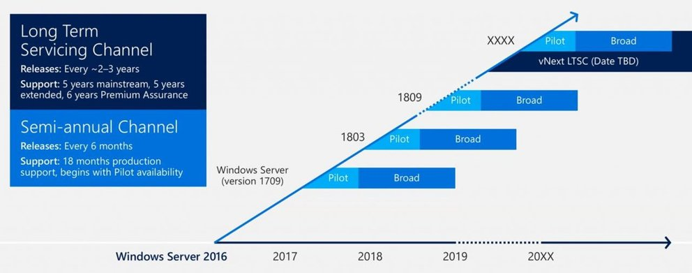 Hier seht ihr den Semi-annual Channel (SAC) und den Long Term Servicing Channel (LTSC). Bildquelle: Microsoft
