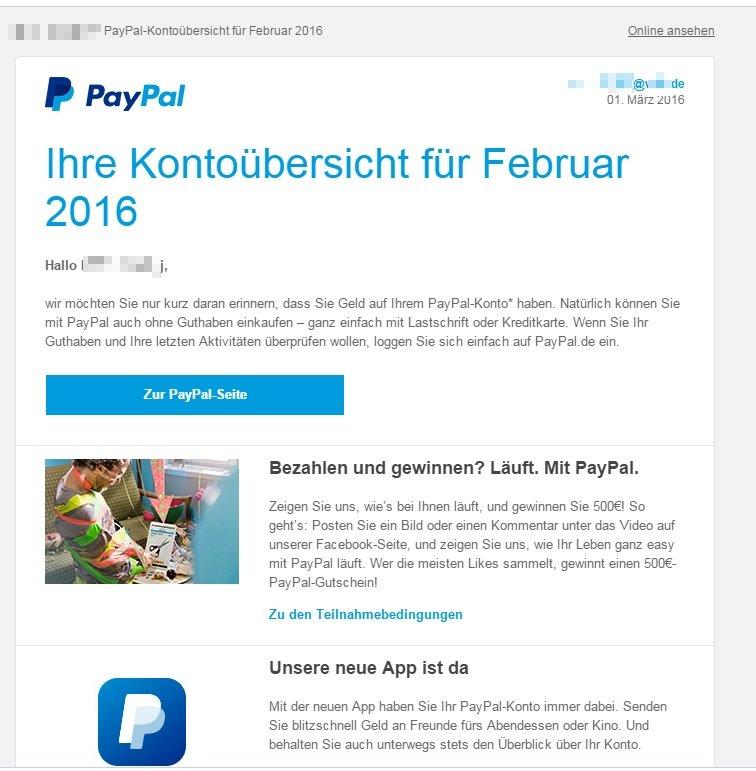 Paypal Konto übersicht