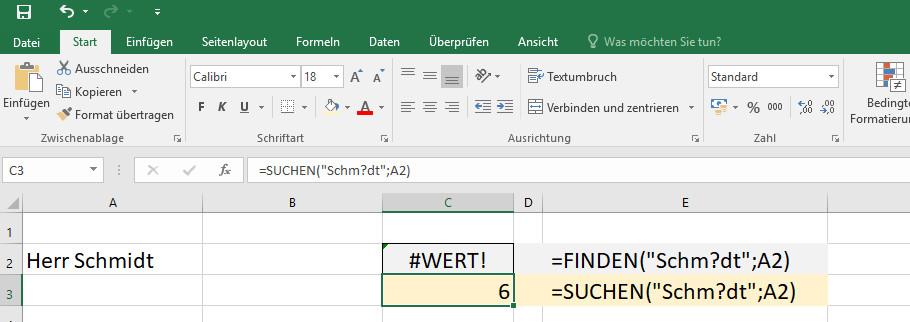 Excel Suche