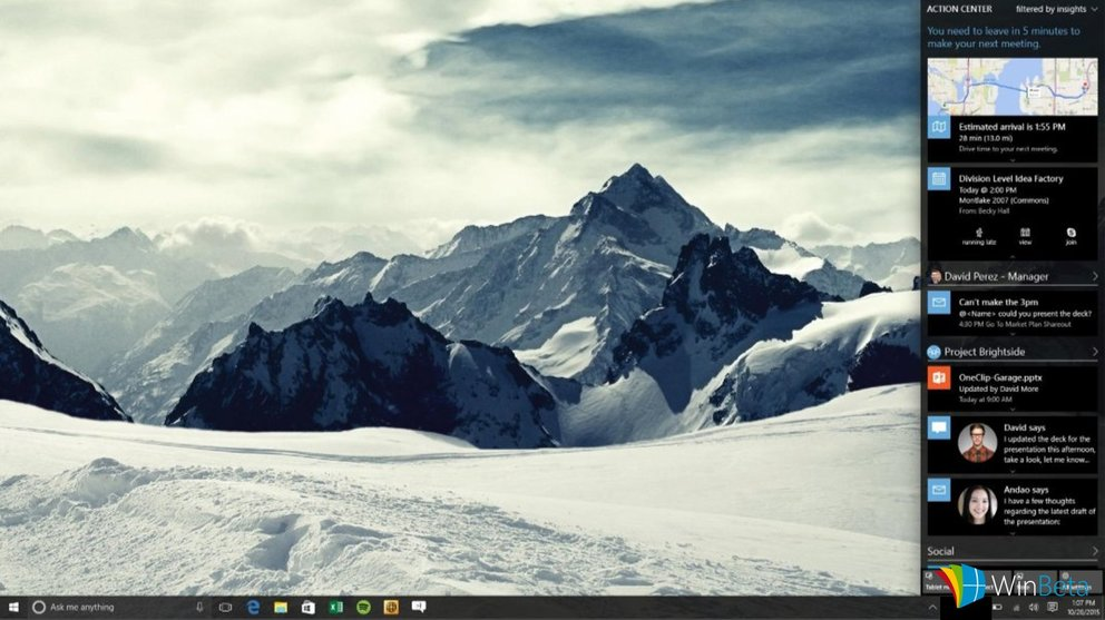 windows 10 redstone action center concept