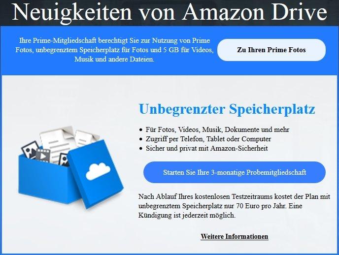 Amazon Drive Unendlich Cloud-Speicher