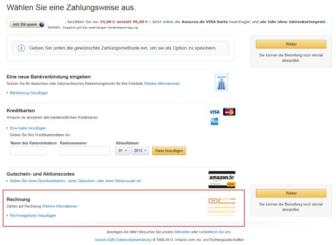 amazon auf rechnung bestellen so funktioniert es. Black Bedroom Furniture Sets. Home Design Ideas