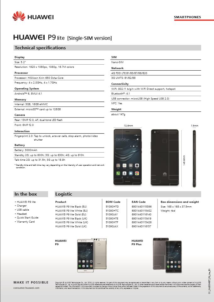 Huawei P9 Lite Technische Daten