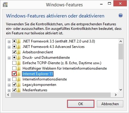 Internet Explorer deaktivieren Windows Features