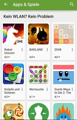 Spiele ohne WLAN Google Play Store