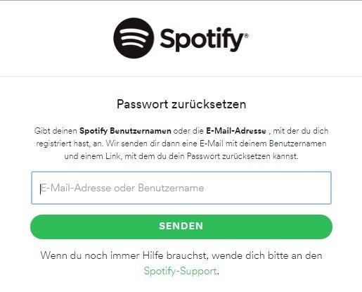 Spotify Passwort zurücksetzen