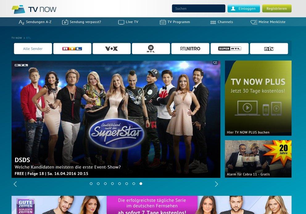 TV NOW Mediathek RTL, RTL2, VOX, Super RTL, RTL Nitro, n-tv