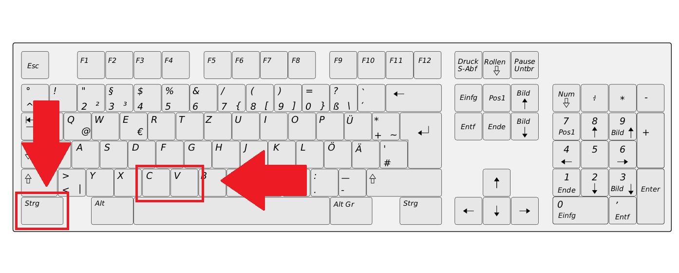 Tastenkombination Für Kopieren Einfügen In Windows Mac Word Und
