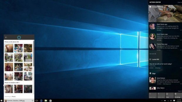 Windows 10: Das Action-Center zeigt auch Bilder von Apps an.