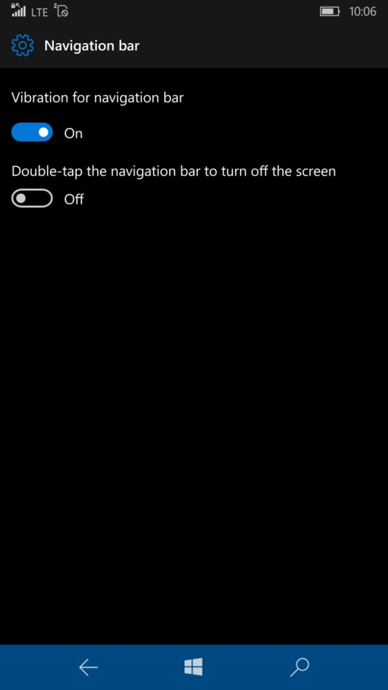 Windows 10 Mobile Preview Build 14322 Navigationsleiste
