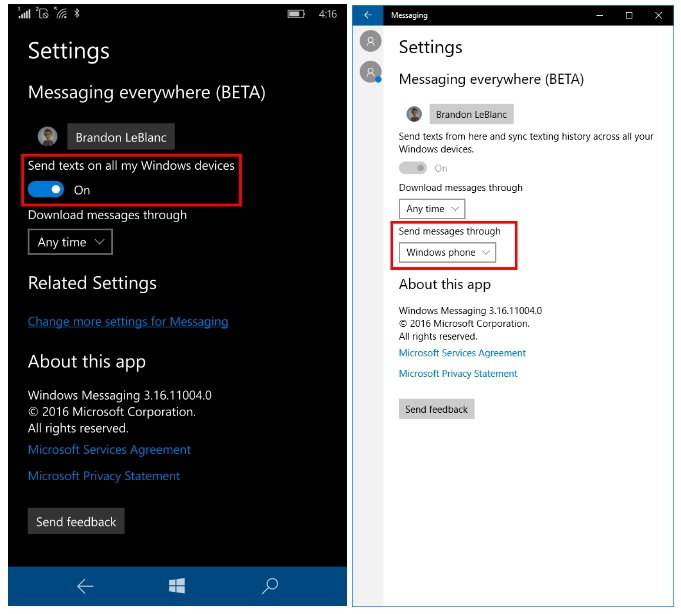 Windows 10 Mobile Preview build 14327 Messaging everywhere