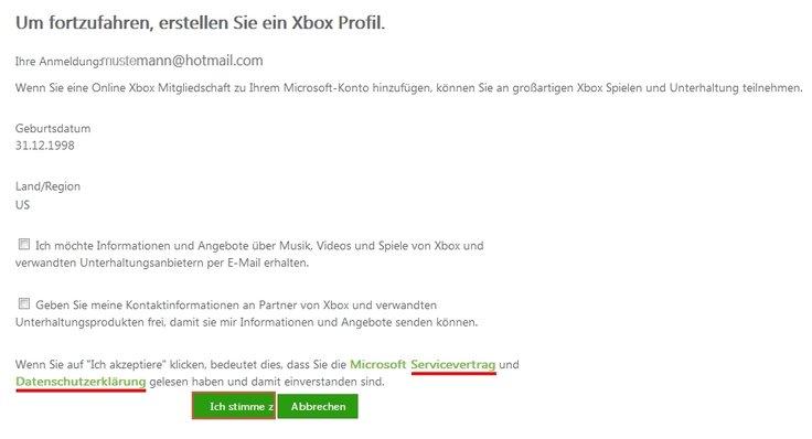 Xbox live anmelden Zustimmung