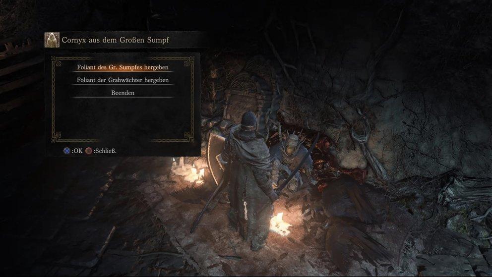Auch Cornyx erweitert sein Angebot an Feuerzaubern, wenn ihr ihm neue Folianten bringt.