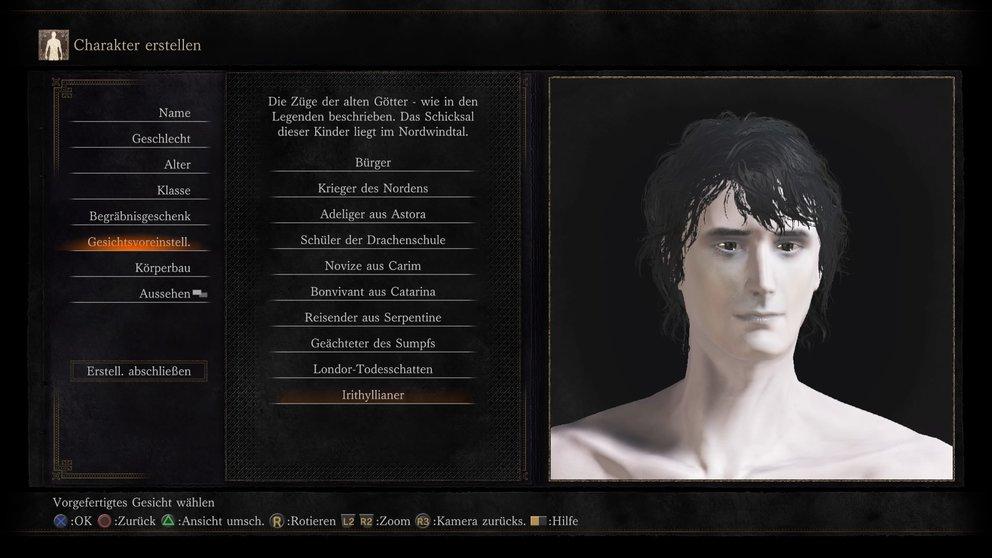 Verschiedene Gesichtsvoreinstellungen helfen bei der Charaktererstellung. Die Irithyllianer müssen dringend mal unter die Sonne.