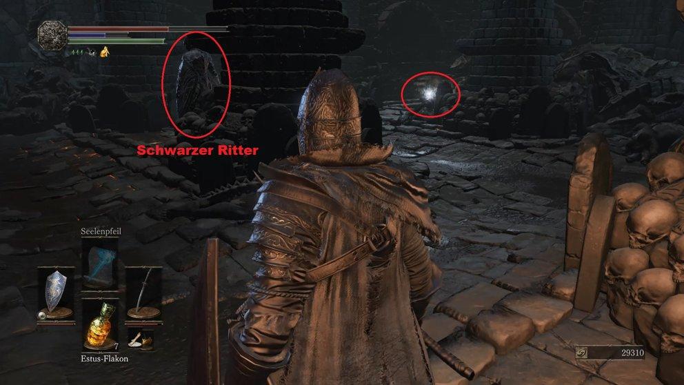 Im Geheimraum bewacht ein schwarzer Ritter das Schwert.