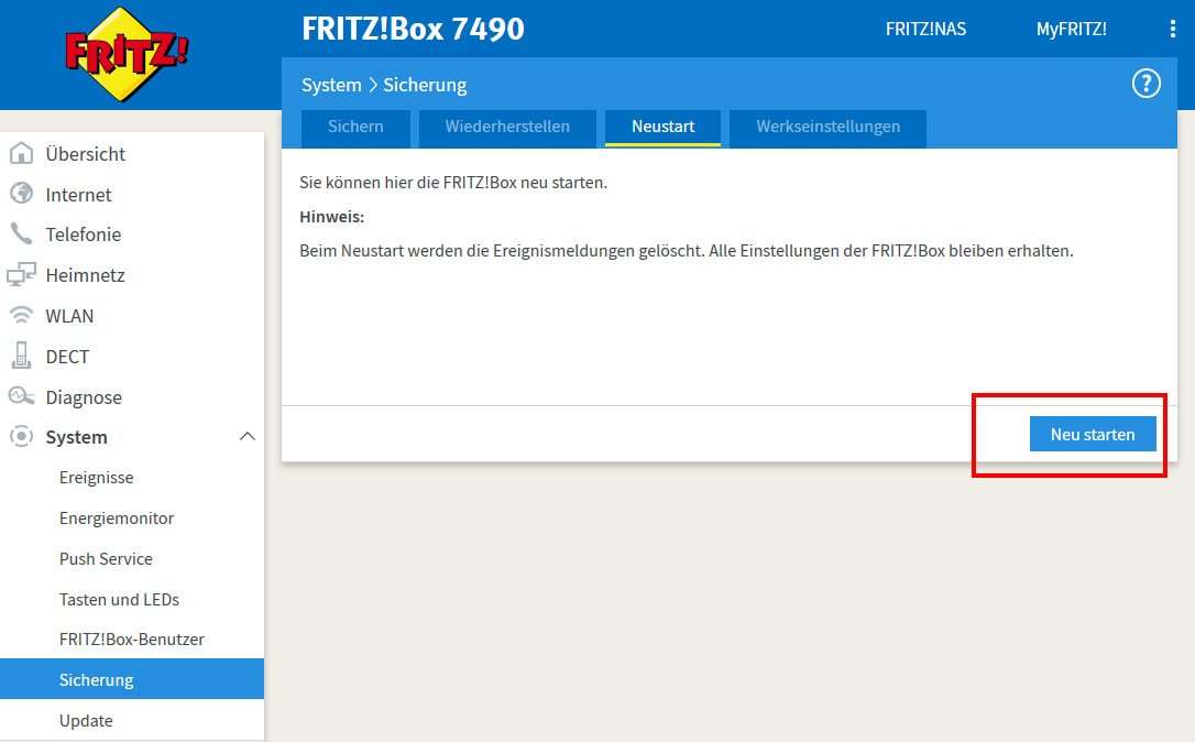 Fritzbox Neustart
