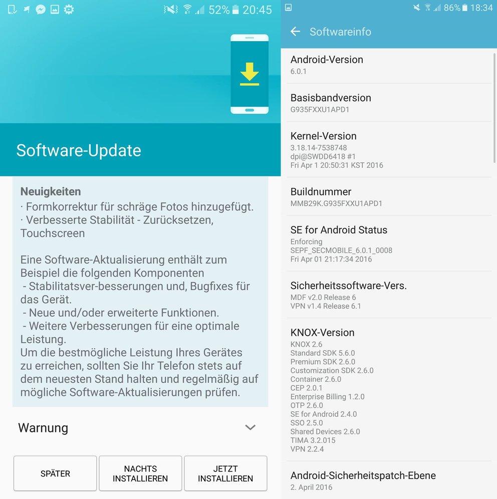Unter anderem erhalten das Galaxy S7 und Galaxy S7 edge (hier zu sehen) das Softwareupdate.