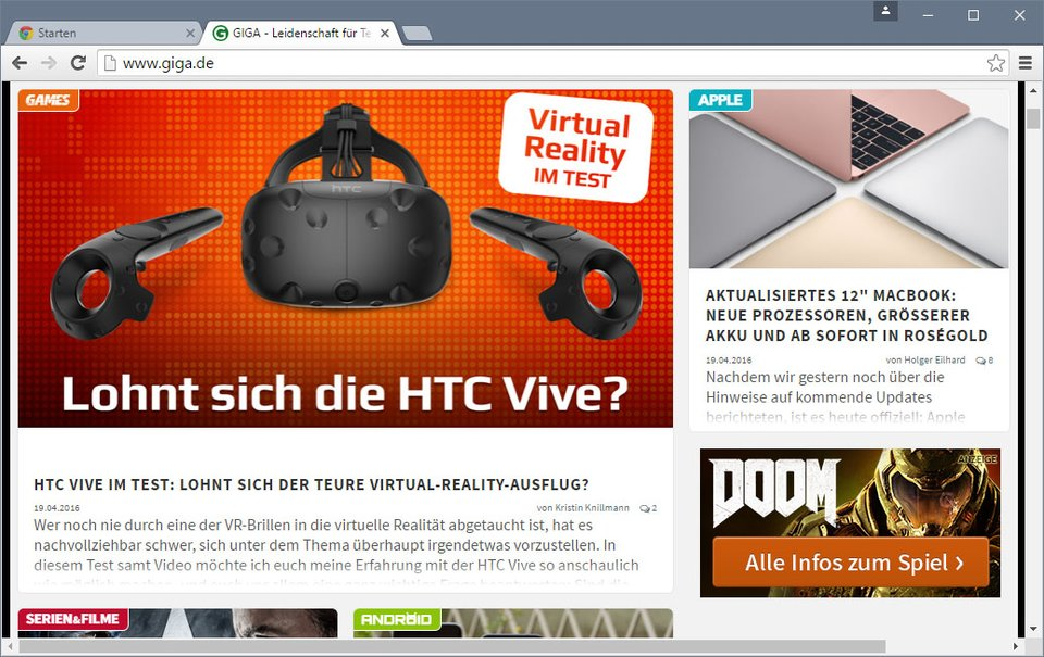 Ein Screenshot vom Browser Google Chrome.