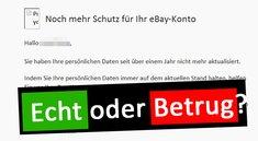 E-Mail: Helfen sie uns ihr eBay-Konto zu schützen – Betrug oder echt?