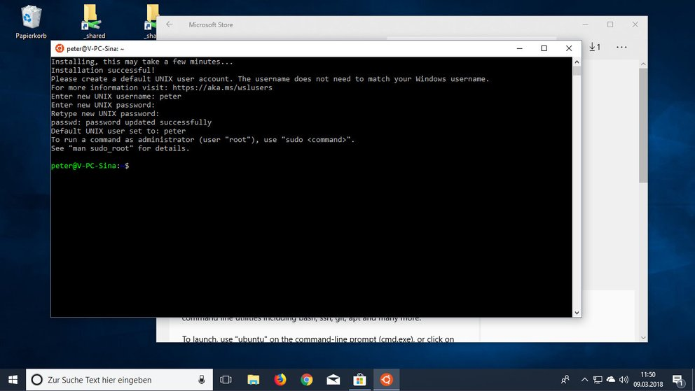 Die Linux-Bash ist bereit.