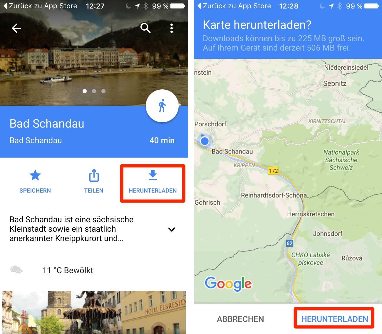 google maps ausschnitt