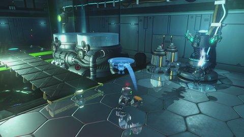 Mit Clank müsst ihr kleine Puzzle lösen. Dazu nutzt ihr Mini-Bots, die verschiedene Mechanismen auslösen.