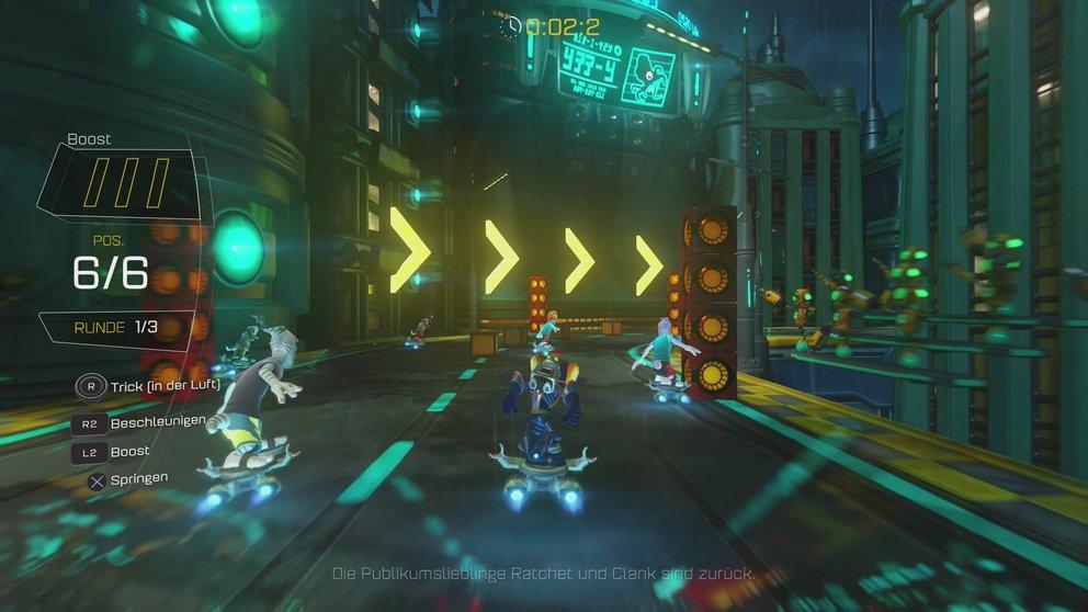 Optionale Ziele, Collectibles und Hoverboard-Rennen: In Ratchet & Clank habt ihr einiges zu tun.