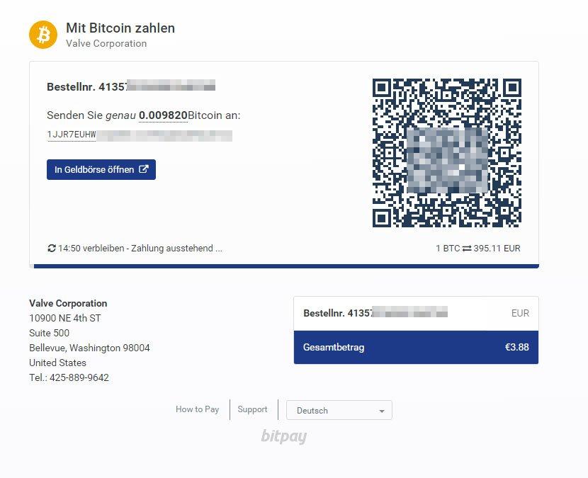 Steam: Die Bitcoin-Zahlung wird über den Anbieter Bitpay abgehandelt.