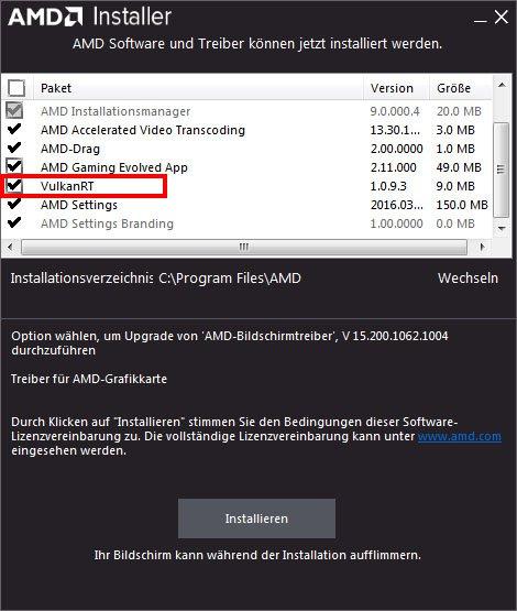 Im Grafikkarten-Installer von AMD könnt ihr VulkanRT installieren.