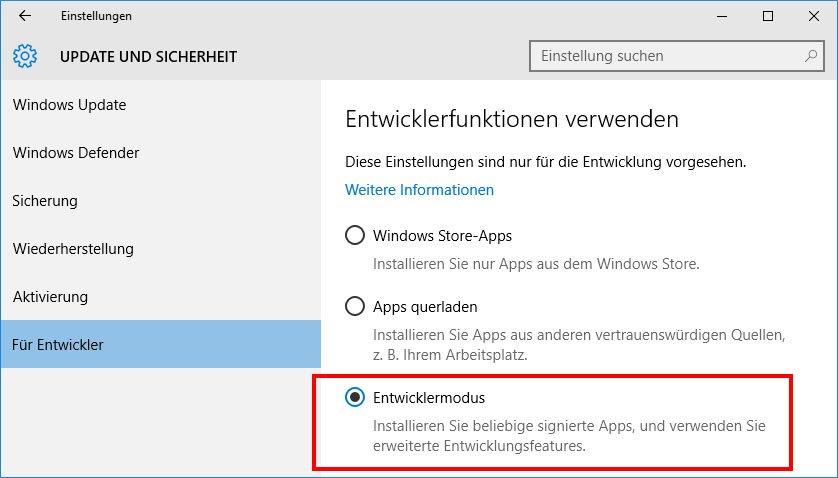 Windows 10: Hier aktiviert ihr den Entwicklermodus.