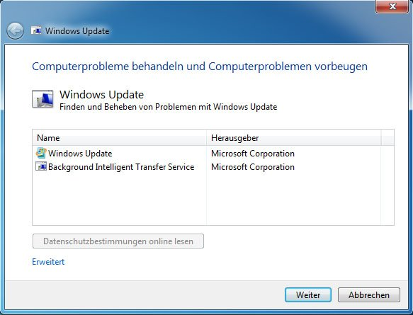 Das Tool WindowsUpdateDiagnostic.diagcab löst Probleme mit Windows Update.