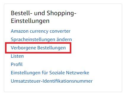 Amazon Verborgene Bestellungen