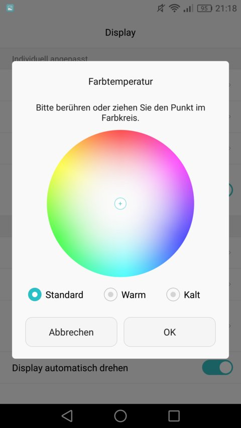 Huawei P9 Test Display Farbtemperatur