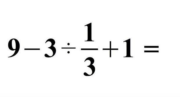 Matheaufgabe: 9-3 ÷ 1/3 + 1 - Das ist die Lösung