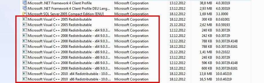 Windows 7: Hier sind 12 Versionen von Microsoft Visual C++ Redistributable installiert.