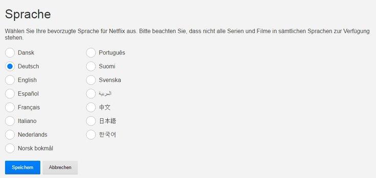 Netflix Sprache ändern Auswahl