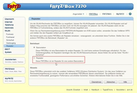 Router als Repeater AVM Fritz!Box