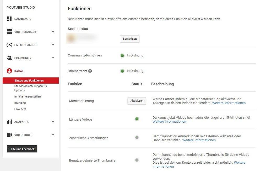 YouTube Studio verwalten