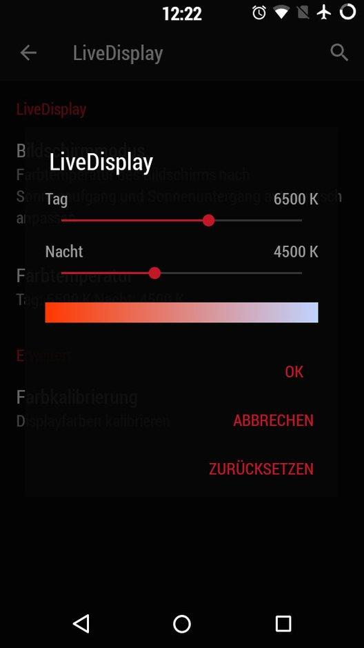Android: Abends und Nachts werden die Display-Farben automatisch angepasst.