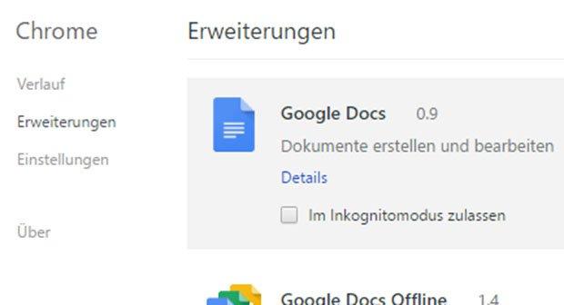Chrome Plugins Anzeigen