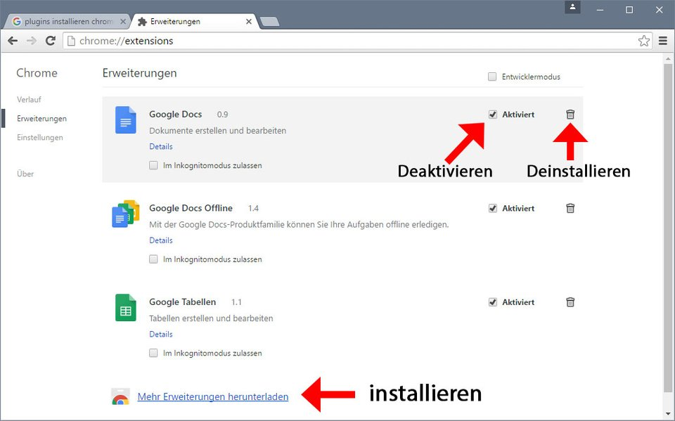 Chrome: So könnt ihr Plugins installieren, deaktivieren und deinstallieren.
