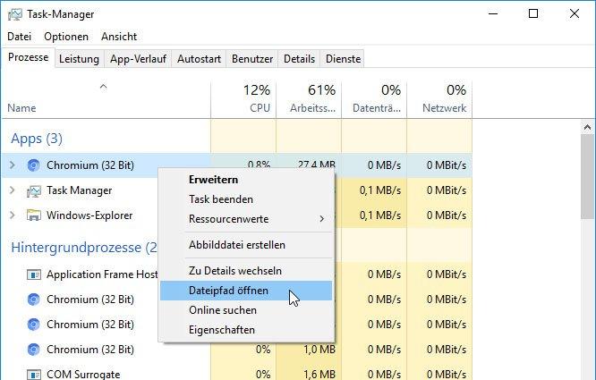 Den Dateipfad von Chromium findet ihr auch über den Taskmanager.