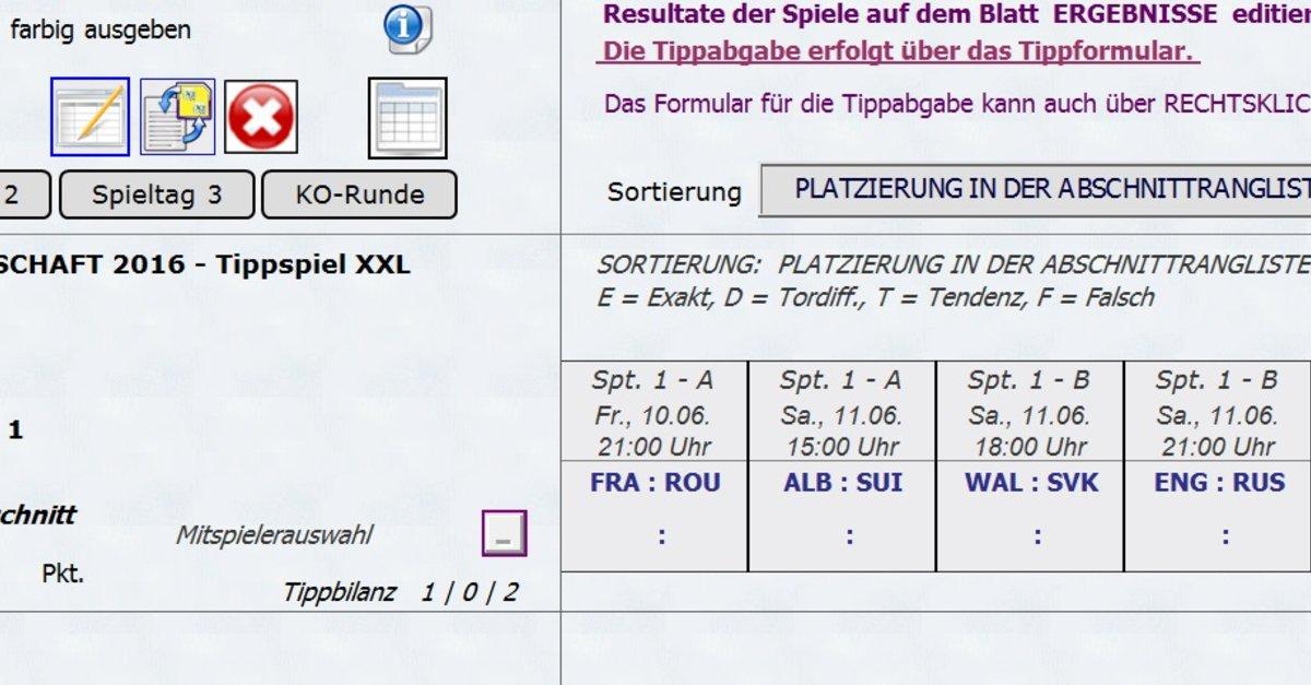 Em Tippspiel Excel Vorlage