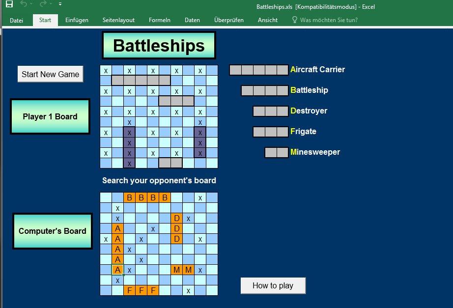 Schiffe versenken als Excel-Spiel.