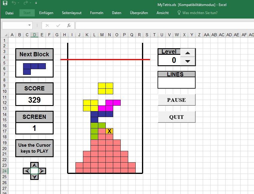 Hier spielen wir Tetris als Excel-Game.