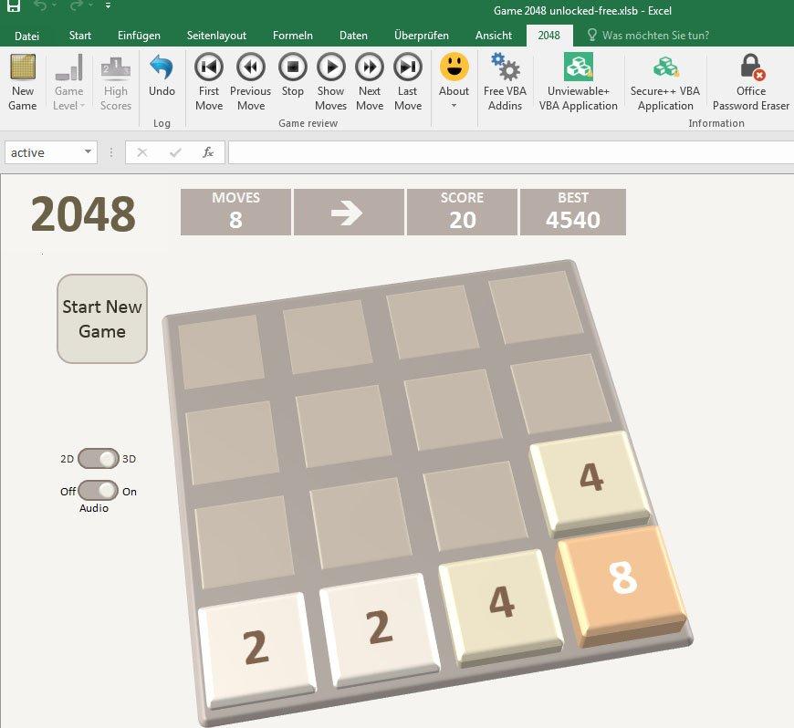Das Spiel 2048 könnt ihr kostenlos in Excel spielen.
