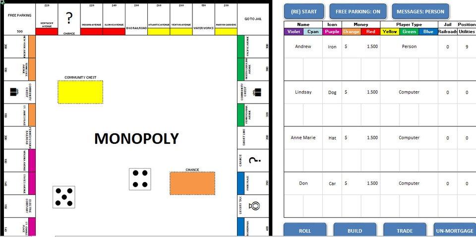 Monopoly als Excel-Spiel.